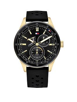 Tommy Hilfiger Tommy Hilfiger Austin Black And Gold Detail Multi Dial  ... Picture