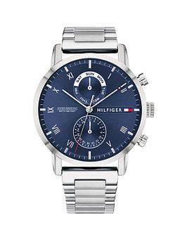 Tommy Hilfiger   Kane Blue Sunray Chronograph Dial Stainless Steel Bracelet Mens Watch