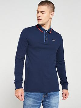 tommy-jeans-long-sleeved-polo-shirt-navy