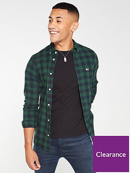 tommy-jeans-brushed-gingham-long-sleeved-shirt-greennavy