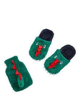Very Dino Slippers And Hot Water Bottle Giftset 6-7 Picture