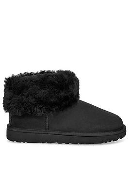 ugg-classic-mini-fluff-ankle-boots-black