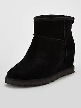 Ugg Ugg Classic Femme Hidden Wedge Mini Ankle Boots - Black Picture