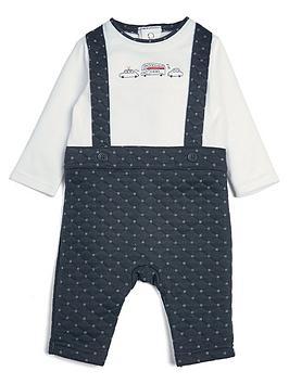 Mamas & Papas   Baby Boys Mock Dungaree Romper - Navy