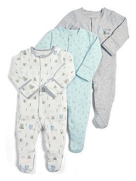 mamas-papas-baby-boys-3-pack-little-bear-sleepsuits-blue