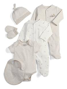 mamas-papas-baby-unisex-6-piece-elephant-layette-sand