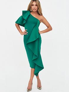 lavish-alice-ruffle-cold-shoulder-scuba-midi-dress-green
