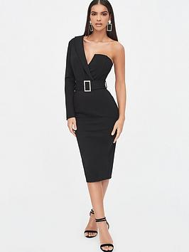 Lavish Alice Lavish Alice One Sleeve Tux Midi Dress - Black Picture