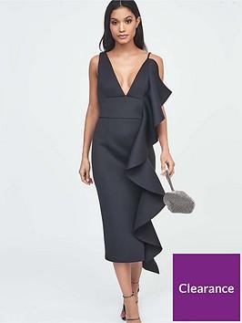 lavish-alice-extreme-frill-scuba-midi-dress-black