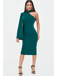 lavish-alice-one-shoulder-cape-midi-dress-emerald-green