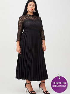 little-mistress-curve-lace-pleated-midaxi-dress-black