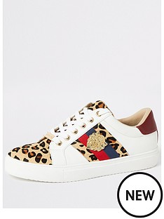 d06bf438c008 River Island River Island Animal Printed Lace Up Trainers - White