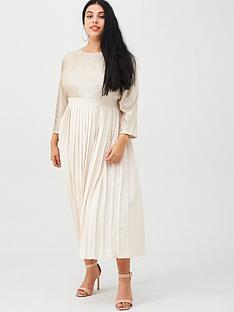 little-mistress-curve-sequin-pleated-midaxi-dress-cream