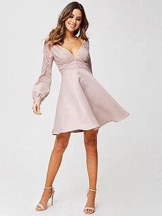 little-mistress-petite-long-sleeve-lace-top-dress-mink