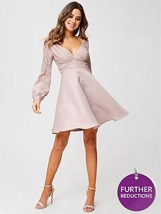 little-mistress-petite-long-sleeve-lace-top-dress-mink