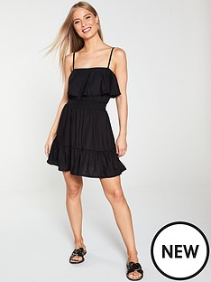 river-island-river-island-shirred-frill-beach-dress-black
