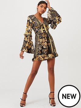 forever-unique-bell-sleeve-tie-front-playsuit-black-gold