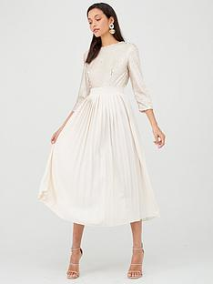 little-mistress-sequin-pleated-hem-midi-dress-cream