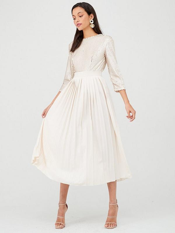 good selling super quality buy sale Little Mistress Sequin Pleated Hem Midi Dress - Cream ...