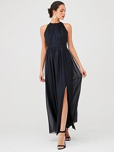 little-mistress-halternecknbspmaxi-dress-blue