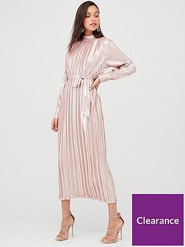 u-collection-forever-unique-long-sleeve-plisse-maxi-dress-rose-gold