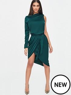 lavish-alice-satin-cut-out-shoulder-wrap-dress-emerald-green