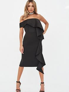 lavish-alice-bardot-exaggerated-frill-scuba-midi-dress-black