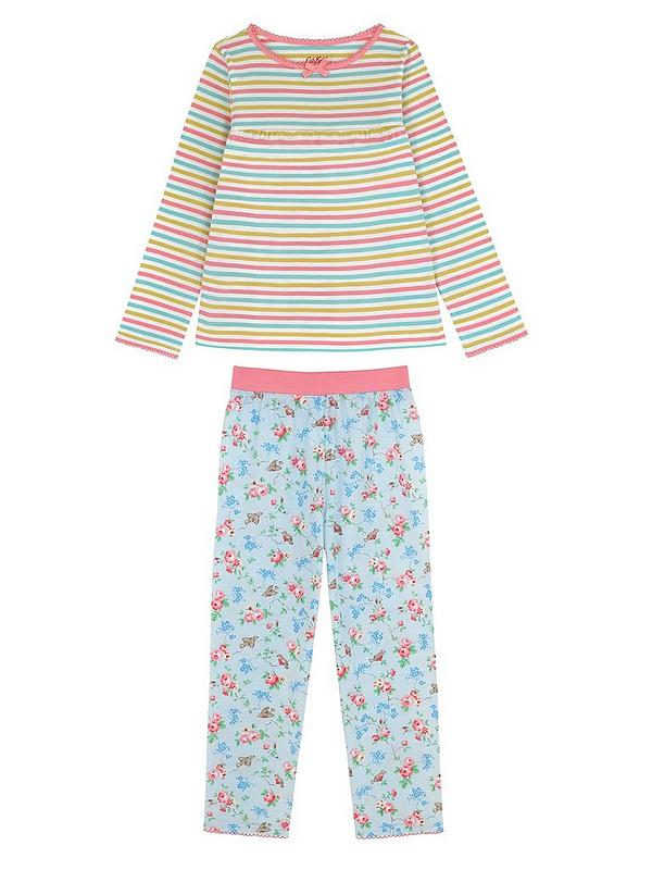 uk availability good looking soft and light Girls 2 Pack Jersey Pyjamas - Sky Blue