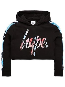 Hype Hype Girls Snake Cropped Hoodie - Black Picture