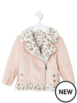 river-island-mini-mini-girls-faux-fur-aviator-jacket-pink