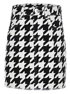 river-island-girls-dogtooth-check-denim-skirt-black