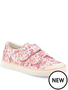 start-rite-girls-bounce-canvas-strap-plimsolls-pink-floral