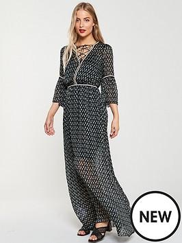 v-by-very-rope-trim-maxi-dress-greenprint