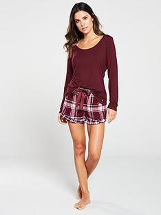 boux-avenue-long-sleeve-top-and-star-check-shortie-in-a-bag-burgundy
