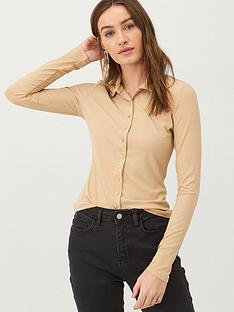 v-by-very-button-through-collar-jersey-top-stone
