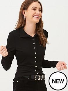 v-by-very-button-through-collar-jersey-top-black