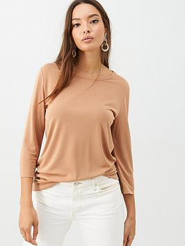 V by Very V By Very The Essential 3/4 Sleeve Soft Touch T-Shirt - Stone Picture