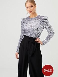 v-by-very-volume-shoulder-sequin-top-silver
