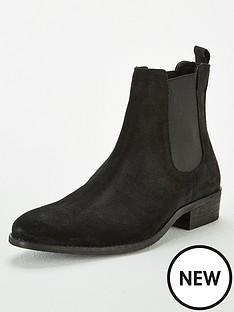 office-brady-western-suede-chelsea-boots-black