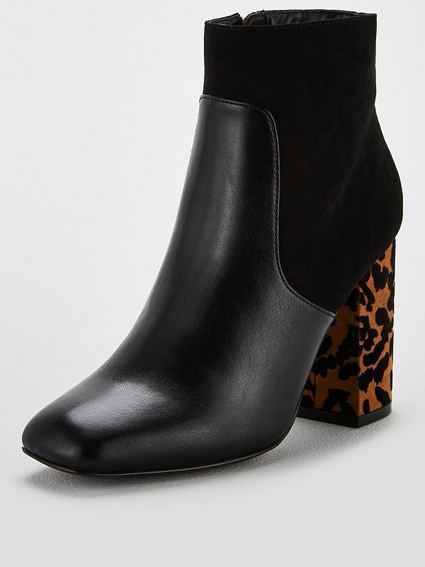 timeless design new cheap release info on Misha Square Toe Block Heel Ankle Boots - Black