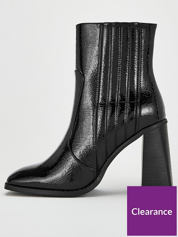 Donna Wide Fit Flare Block Heel Ankle Boots Black
