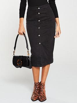 V by Very V By Very Button Front Denim Midi Skirt - Washed Black Picture