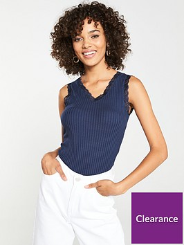 v-by-very-lace-trim-ribbed-vest-navy