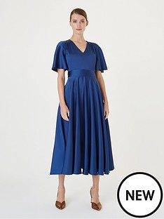 hobbs-angelina-satin-fit-and-flare-dress-sapphire