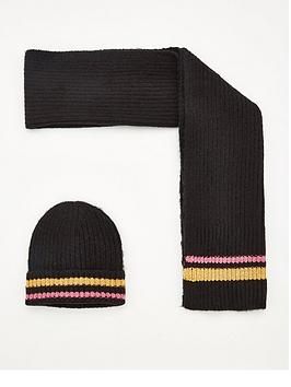 V by Very V By Very Metallic Stripe Hat And Scarf Set Picture