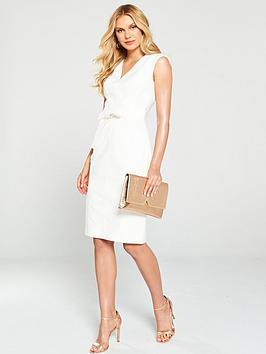 Karen Millen Karen Millen Tie Waist Contour Dress - Ivory Picture