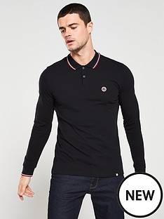pretty-green-tipped-pique-long-sleeve-polo-shirt-black