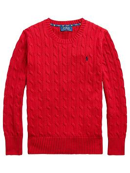 Ralph Lauren Ralph Lauren Boys Classic Cable Knit Jumper - Red Picture