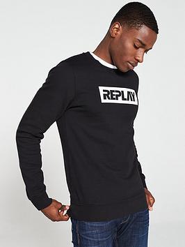replay-logo-sweatshirt-black