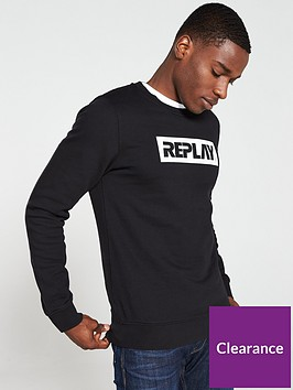 replay-logo-sweatshirt-black